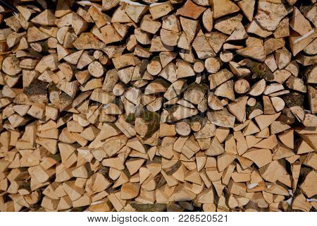 Firewood Texture, After The Sawing Wood. Firewood Texture