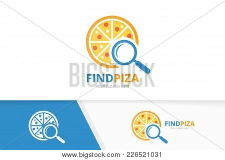 Vector Pizza And Loupe Logo Combination. Food And Magnifying Symbol Or Icon. Unique Pizzeria And Sea