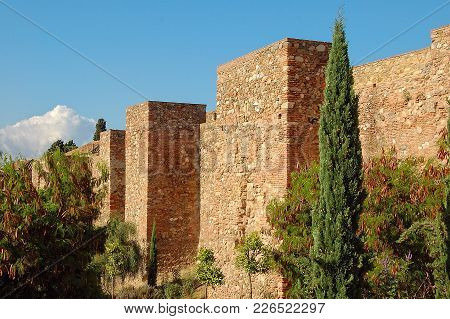 The Outer Walls Of Alcazaba, A Moorish Palatial Fortification - Malaga, Andalusia, Spain