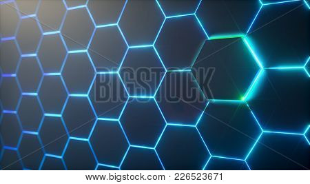 Abstract Futuristic Surface Hexagon Pattern With Light Rays