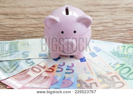 Finance Money Savings Account, Europe Economics Concept, Pink Piggy Bank On Pile Of Euro Banknotes O