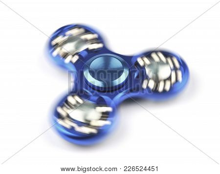Rotating Fidget Spinner With Small Balls Isolated On A White Background
