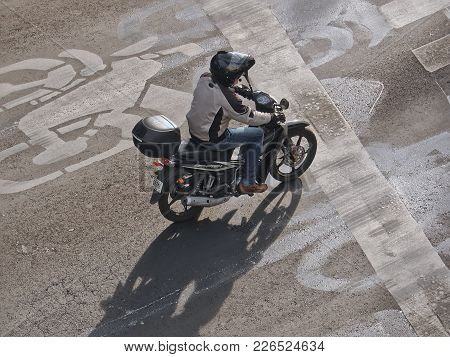 Mexico City, D.f. / Mexico - January 09 2016: Man Riding Motorcycle On The Street In Mexico City, Me