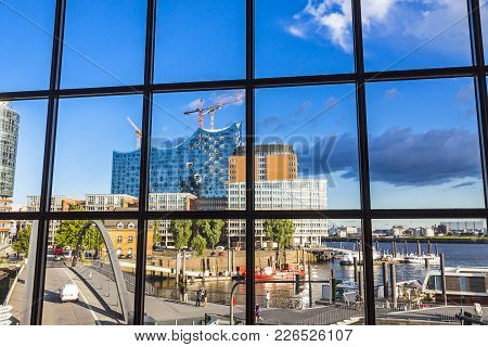 Hamburg, Germany - June 25,2014: The Elbphilharmonie, Concert Hall In The Port Of Hamburg. The Talle