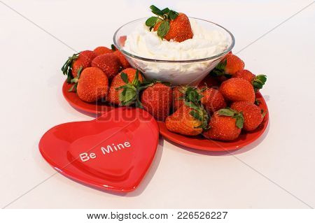 Heart Plate Filled With Ripe Strawberries And Whipped Cream And A Small Heart Plate In Front Read Be