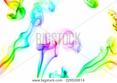 A Composed Shot Of Rainbow-colored Smoke On A White Background.
