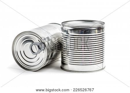 food tin cans on white background