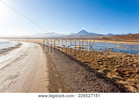 Chilean Landscape, Dirt Road And Licancabur Volcano. Chile Panorama