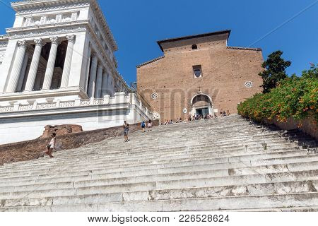 Rome, Italy - June 23, 2017: Amazing View Of Chiesa Di San Marcello Al Corso In Rome, Italy
