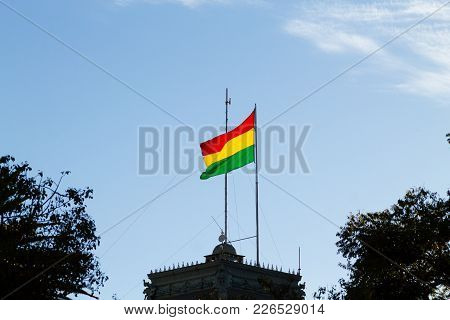 Bolivian Flag That Waves In Wind, Bolivia