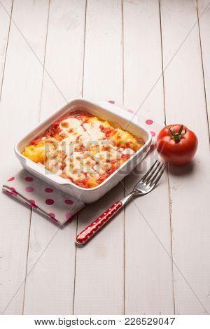 baked polenta with tomato sauce and mozzarella