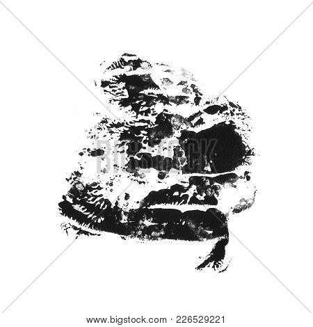 Abstract Acrylic Paint Monotyped Spot. Black Textured Imprint. Vector Grunge Illustration Isolated O