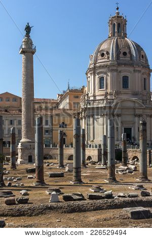 Rome, Italy - June 23, 2017: Amazing View Of Trajan Column And Forum In City Of Rome, Italy