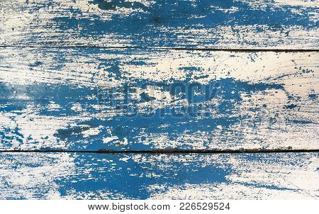 Grunge Texture : Old Wooden Table Painted With Blue And White Color, Some Color Peeled Off Created U