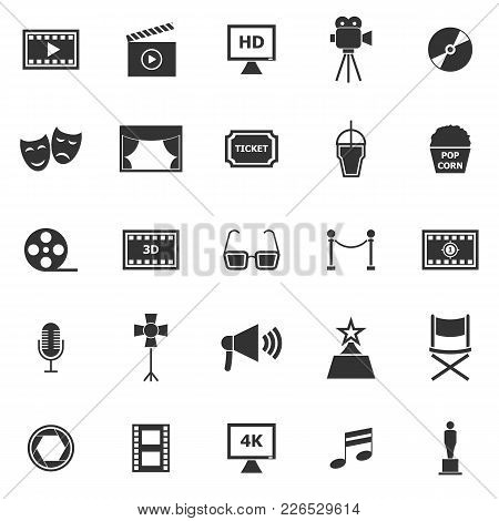 Movie Icons On White Background, Stock Vector