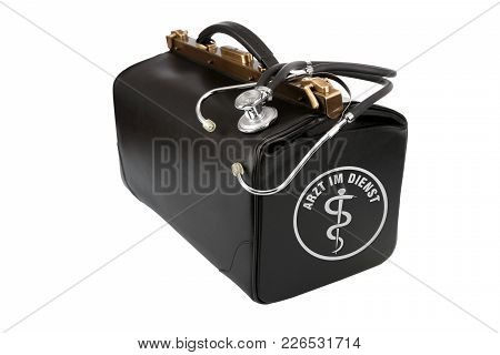 Doctor Bag With Stethoscope And Sign - Doctor On Duty - Isolated On White Background