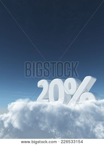 Number Twenty And Percent Symbol In The Sky - 3d Rendering
