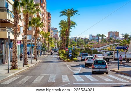 Torrevieja , Spain - November 10, 2017: Paseo Vistalegre, A Busy Road With Shops And Traffic In The