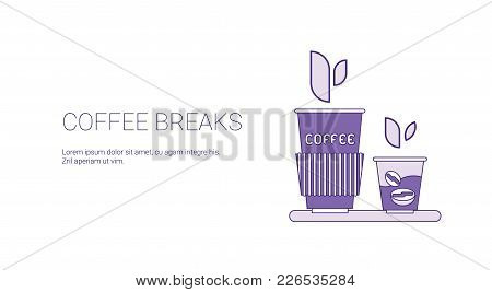 Coffee Break Web Banner With Copy Space Business Time Management Concept Vector Illustration