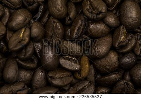 Coffee Beans Shot Close Up With A Macro Lens