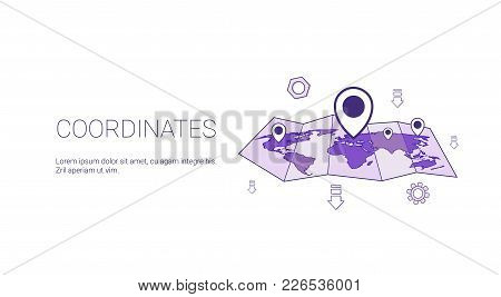 Coordinates Geographical Location Concept Web Banner With Copy Space Vector Illustration