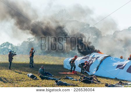 Nakhon Ratchasima, Thailand - December 23, 2017: Rescue Drill On Simulation Of Passenger Airplane Cr