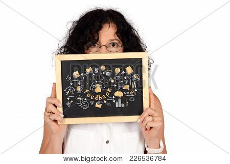 Business Woman Holding Chalkboard With Feedback Sketch. Isolated White Background