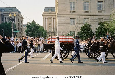 Ronald Reagan Funeral Procession Caisson Being Pulled By Horses On Constitution Avenue, Washington,