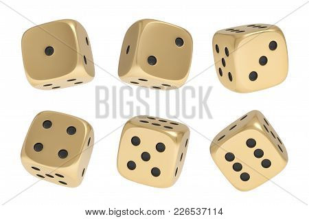 3d Rendering Of A Set Made Up Of Nine Golden Game Dice In Different Sides And Angles On A White Back