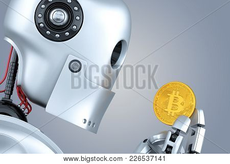 Robot Looking At Bitcoin Coin In His Hands. 3d Illustration. Contains Clipping Path.