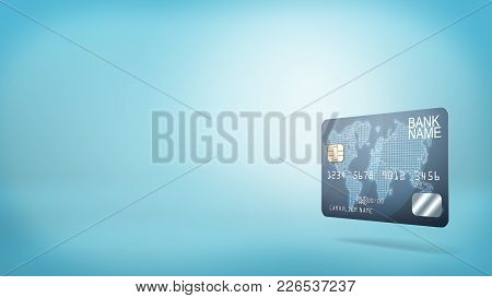 3d Rendering Of A Single Blue Plastic Banking Card With Generic Name Information On A Blue Backgroun