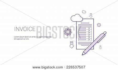 Invoice Web Banner With Copy Space Business Finance Taxes Concept Vector Illustration