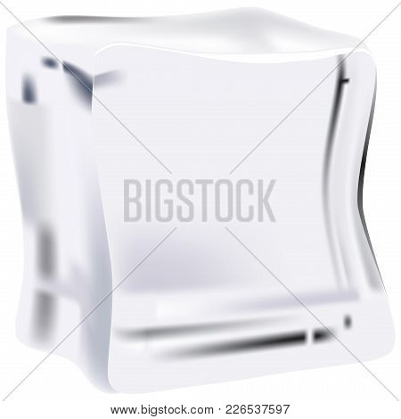 A Clean Ice Cube For Cooling Food. Vector Illustration.