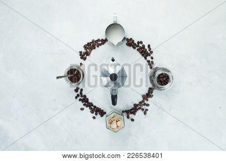 Coffee Beans Circle With Moka Pot, Geyser Coffee Maker, Milk Jug, Ground Coffee And Sugar. Clock Dia