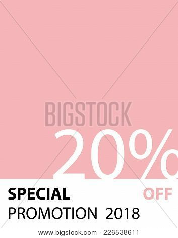 Special Promotion 20 Percent Pantone Style Vector (pink Color) For Banner Or Poster. Sale And Discou