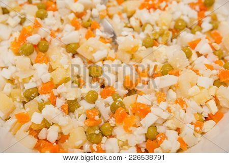 Salad Close Up. Russian Salad Close Up. National Russian Dish.