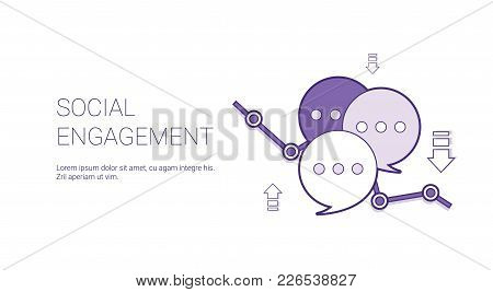 Social Engagement Web Banner With Copy Space Business Content Marketing Concept Vector Illustration