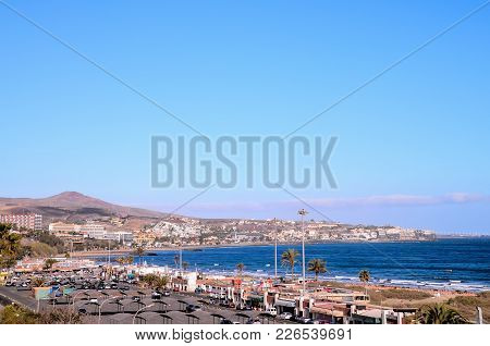 Playa Del Ingles Tropical Beach In South Of Gran Canaria Canary Islands