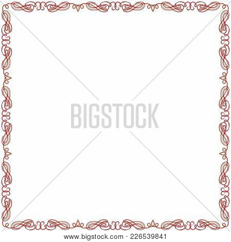 Greeting Card With Ornamental Swirl Red Floral Frame On The White Background, Vector Illustration