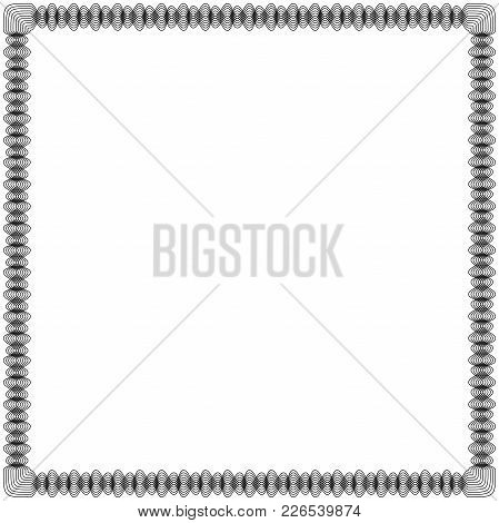 Black Frame With Many Swirl Ornamental Interlaced Lines Isolated On The White Background, Vector Ill