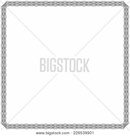 Frame With Many Swirl Ornate Interlaced Ordering Black Lines Isolated On The White Background, Vecto