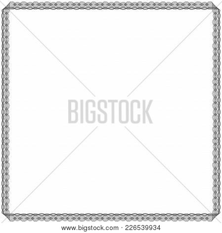 Black Frame With Many Swirl Ornate Interlaced Ordering Black Lines Isolated On The White Background,