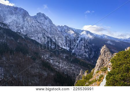 Sarnia Skala peak in Tatra mountains at winter, Poland
