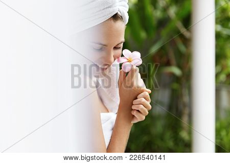 Skincare, Spa And Aromatherapy Concept. Close Up Shot Of Smiling Joyful Young Woman With Healthy Pur