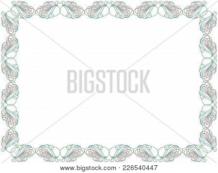 Swirl Color Floral Frame With Thin Ornamental Lines As A Greeting Card Isolated On The White Backgro