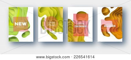 Yellow Orange Paper Cut Wave Shapes. Layered Curve Origami Design For Business Presentations, Flyers