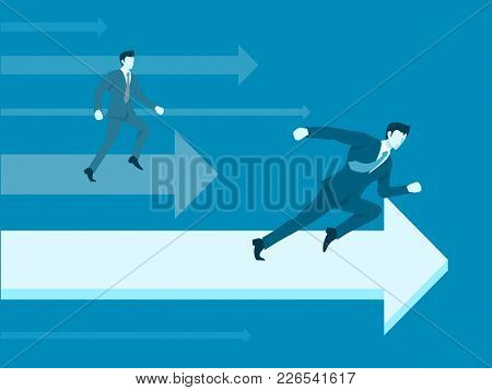 Businessman In Business Competition, The One Who Most Strive Will Win.