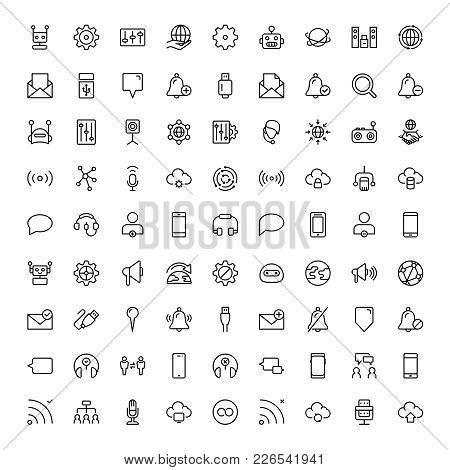 Exclusive Wireless Thin Line Icons Set. Big Package Of Modern Minimalistic Pictograms For Mobile Uiu