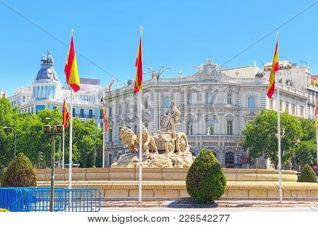 Cibeles Fountain (fuente De La Diosa Cibeles) In The Downtown Of