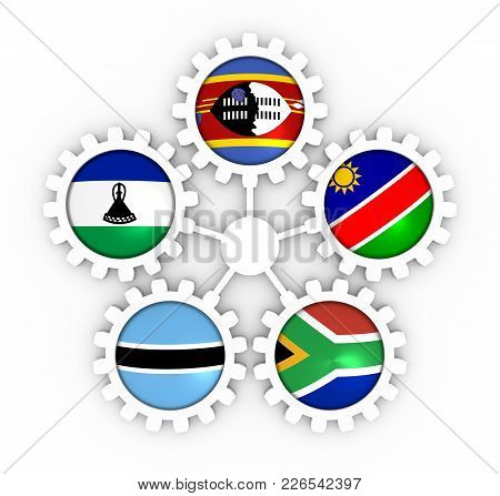 Southern African Customs Union - Association Of Five National Economies Members Flags On Gears. Glob